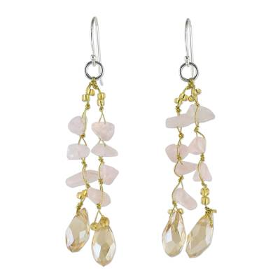 Rose Quartz and Glass Bead Dangle Earrings from Thailand