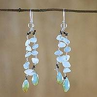 Quartz dangle earrings, 'Crystalline Drops in Blue' - Blue Quartz and Glass Bead Dangle Earrings from Thailand