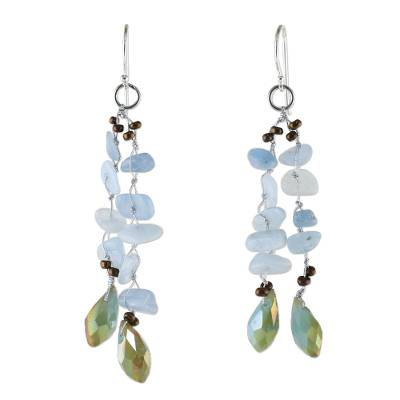 Blue Quartz and Glass Bead Dangle Earrings from Thailand