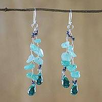 Quartz dangle earrings, 'Crystalline Drops in Green' - Green Quartz and Glass Bead Dangle Earrings from Thailand