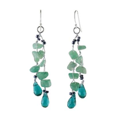 Green Quartz and Glass Bead Dangle Earrings from Thailand