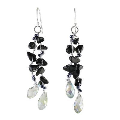 Onyx and Glass Bead Dangle Earrings from Thailand