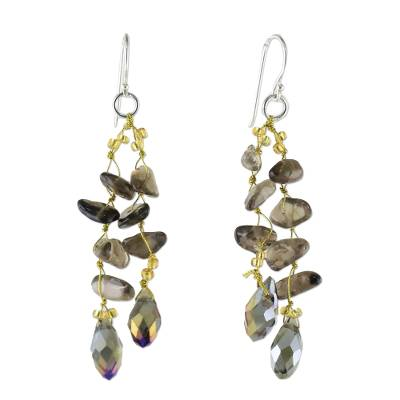 Smoky Quartz and Glass Bead Dangle Earrings from Thailand