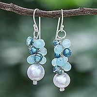 Cultured pearl and quartz dangle earrings, 'Happy Bunch' - Cultured Pearl and Quartz Dangle Earrings from Thailand