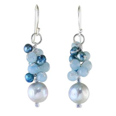 Cultured Pearl and Quartz Dangle Earrings from Thailand