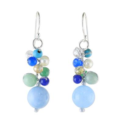 Blue Quartz Multi-Gemstone Dangle Earrings from Thailand