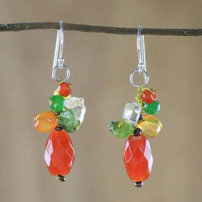 Carnelian dangle earrings, 'Wistful Memory' - Carnelian Multi-Gemstone Dangle Earrings from Thailand