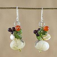 Jasper and cultured pearl dangle earrings, 'Exotic Cluster' - Thai Jasper and Cultured Pearl Dangle Earrings
