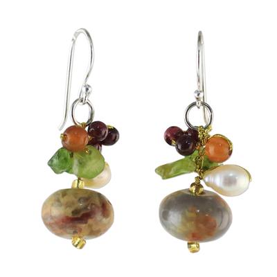 Jasper and cultured pearl dangle earrings, 'Exotic Cluster' - Thai Jasper and Cultured Pearl Dangle Earrings