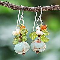 Multi-gemstone dangle earrings, 'Exotic Cluster in Blue'