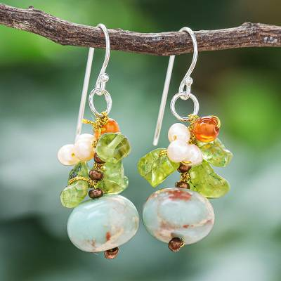 Multi-gemstone dangle earrings, 'Exotic Cluster in Blue' - Multi-Gemstone Dangle Earrings in Blue from Thailand