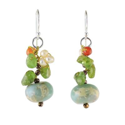 Multi-gemstone dangle earrings, 'Exotic Cluster in Blue' - Multi-Gemstone Dangle Earrings in Blue from Thailand