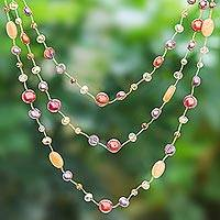 Cultured pearl and quartz beaded necklace, 'Stylish Strands' - Cultured Pearl and Quartz Beaded Necklace from Thailand