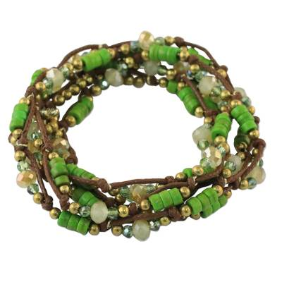 Green Calcite Beaded Wrap Bracelet from Thailand