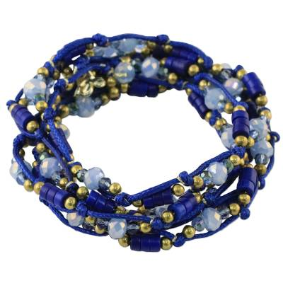 Blue Calcite and Glass Beaded Wrap Bracelet from Thailand