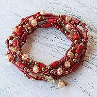 Calcite wrap bracelet, 'Passionate Party' - Calcite and Glass Beaded Wrap Bracelet in Red from Thailand