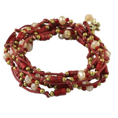 Calcite and Glass Beaded Wrap Bracelet in Red from Thailand