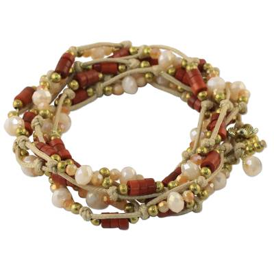Handmade Dyed Red Calcite and Golden Brass Beaded Wrap Bracelet