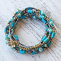 Beaded wrap bracelet, 'Ocean Party' - Light Blue Calcite Beaded Wrap Bracelet from Thailand