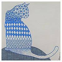 'Turn Around' - Signed Op Art Painting of a Cat in Blue from Thailand