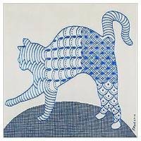 'Lazy Morning' - Signed Cubist Painting of a Cat in Blue from Thailand