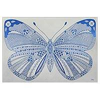 'The Wonderful Butterfly' (2016) - Signed Cubist Painting of a Butterfly in Blue from Thailand