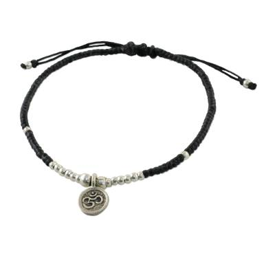 Silver charm bracelet, 'Round Om' - Karen Silver Om Charm Bracelet from Thailand