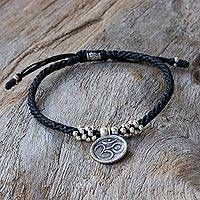 Silver charm bracelet, 'Om Magic' - Karen Silver Adjustable Om Charm Bracelet from Thailand
