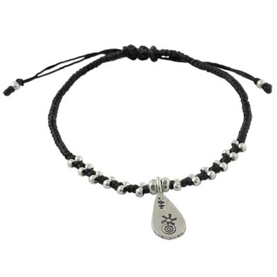 Silver charm bracelet, 'Karen Drop' - Karen Silver Adjustable Charm Bracelet from Thailand