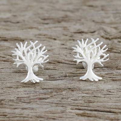 Sterling silver stud earrings, 'Bird Homes' - Sterling Silver Tree-Shaped Stud Earrings from Thailand
