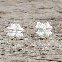 Sterling silver stud earrings, 'Fresh Clovers' - Sterling Silver Clover Stud Earrings from Thailand