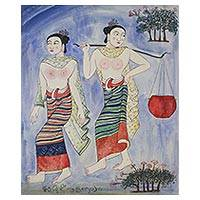 'Lanna Women' - Signed Cultural Folk Art Painting of Two Women from Thailand