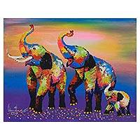 'Family Colorful' - Signed Expressionist Painting of Colorful Elephants