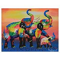 'Family Colorful: Blue' - Signed Expressionist Painting of Multicolored Elephants