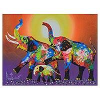 'Family Colorful: Purple' - Signed Vibrant Expressionist Painting of Elephants