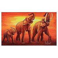 'Happy Family: Shouting' - Signed Expressionist Painting of an Elephant Family