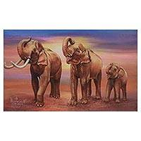 'Happy Family: Parade' - Signed Expressionist Painting of Three Elephants