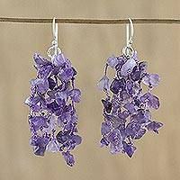 Amethyst waterfall earrings, 'Natural Rain' - Amethyst and Silk Waterfall Earrings from Thailand