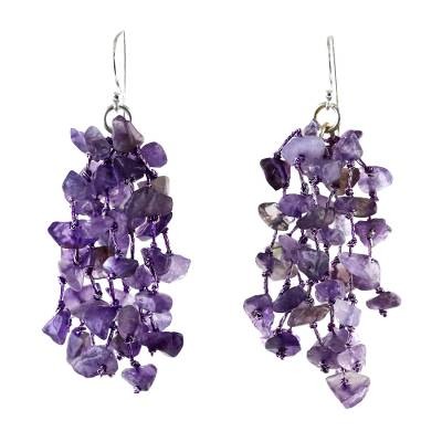 Amethyst waterfall earrings, 'Endless Rain' - Amethyst Beaded Waterfall Earrings from Thailand
