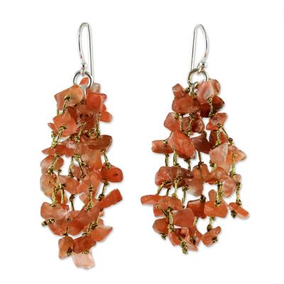 Carnelian and Silk Waterfall Earrings from Thailand