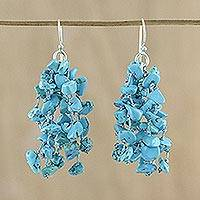 Calcite waterfall earrings, 'Natural Rain' - Blue Calcite and Silk Waterfall Earrings from Thailand