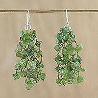 Peridot waterfall earrings, 'Natural Rain' - Peridot and Silk Waterfall Earrings from Thailand