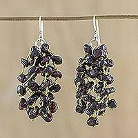 Garnet waterfall earrings, 'Natural Rain' - Garnet and Silk Waterfall Earrings from Thailand