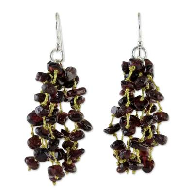 Garnet and Silk Waterfall Earrings from Thailand