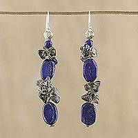 Lapis lazuli and smoky quartz cluster earrings, 'Sumptuous Stones' - Lapis Lazuli and Smoky Quartz Cluster Earrings from Thailand