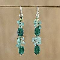 Quartz and peridot cluster earrings, 'Sumptuous Stones' - Dyed Quartz and Peridot Cluster Earrings from Thailand