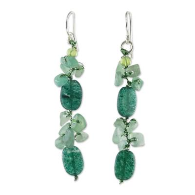 Dyed Quartz and Peridot Cluster Earrings from Thailand