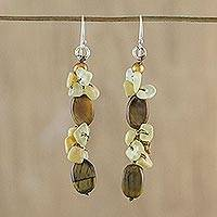 Multi-gemstone cluster earrings, 'Natural Fruit' - Multi-Gemstone Tiger's Eye Cluster Earrings from Thailand