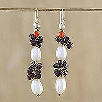 Multi-gemstone cluster earrings, 'Natural Fruit' - Cultured Pearl Multi-Gemstone Cluster Earrings from Thailand