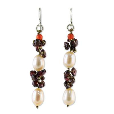 Cultured Pearl Multi-Gemstone Cluster Earrings from Thailand